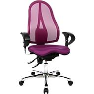 Topstar bureaustoel SITNESS 15, permanent contact, met armleuningen, gazen rugleuning, fitness-orthozitting, paars