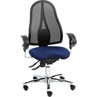 Topstar bureaustoel SITNESS 15, permanent contact, met armleuningen, gazen rugleuning, fitness-orthozitting, zwart/blauw