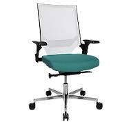 Topstar bureaustoel T300, synchroonmechanisme, met armleuningen, gazen rugleuning met lendenwervelsteun, kuipzitting, wit/turquoise