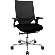 Topstar bureaustoel T300, synchroonmechanisme, met armleuningen, gazen rugleuning met lendenwervelsteun, kuipzitting, zwart/zwart