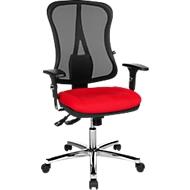 Topstar HEAD POINT DELUXE bureaustoel, synchroonmechanisme, met armleuningen, netrug, speciale kuipzitting, rood/zwart/aluminiumzilver