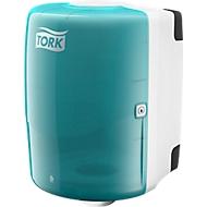 TORK Distributeur à déroulement intérieur pour gros rouleaux, blanc/turquoise