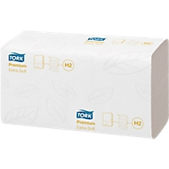 TORK® handdoeken Premium Ultra Soft, interfold 2-laags, wit L 340 mm x B 210 mm, 2100 doekjes