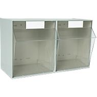 Transparant magazijn MultiStore, 2 bakken, B 600 x D 310,5 x 353 mm, lichtgrijs
