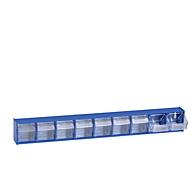Transparante magazijnbak, 9 bakjes, blauw