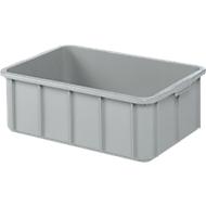 Transportbak, geschikt voor levensmiddelen, hoge-dichtheid polyethyleen (HDPE),L 600 x B 355 x H 210 mm, 35 liter, grijs