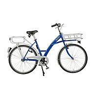 Transportfiets, stalen frame, met voorwiellastdrager, belichting inbegrepen, blauw RAL 5002