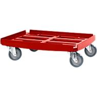 Transportroller Basic serie WTR2,, voor bakken van 600 x 400 mm, polypropeen, stapelbaar, rood