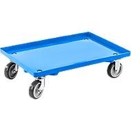 Transportroller, geschlossen, L 415  x B 615 x H 175 mm, Traglast 300 kg, 4 Lenkrollen, blau