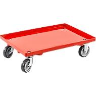 Transportroller, geschlossen, L 415  x B 615 x H 175 mm, Traglast 300 kg, 4 Lenkrollen, rot