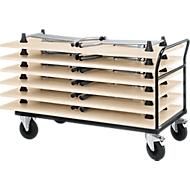 Transportwagen met duwbeugel met 6 inklapbare tafels, ahorn