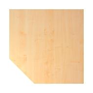 Trapezplatte JENA, 1-Fuß, B 1200 x T 1200 x H 720 mm, Gestell alusilber, Ahorn-Dekor