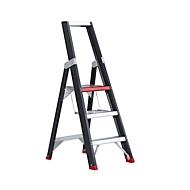 Trapladder Professional Topline, eenzijdig, aluminium, 3 treden, zwart