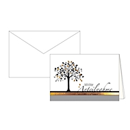Trauerkarte Aufrichtige Anteilnahme, Motiv Baum mit Goldfolienprägung, 10er-Set