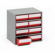TRESTON onderdelenkastje 0830, 8 schuifladen, d 300 mm, rood