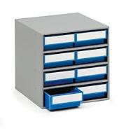 TRESTON onderdelenkastje 0840, 8 schuifladen, d 400 mm, blauw