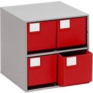 TRESTON Schubladenmagazin 0440, 4 Schubladen, T 400 mm, rot