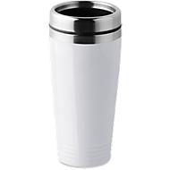 Trinkbecher, doppelwandig, Edelstahl/PP, 400 ml, WAB 40x20 mm, weiß
