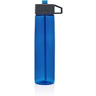 Trinkflasche mit Strohhalm, Tritan, 750 ml, inkl. Tragehaken, blau/grau