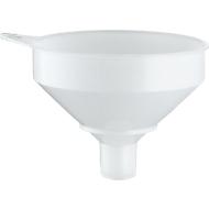 Trommeltrechter, Ø 253 mm, 3,5 l, voedselveilig, met zeef, overlooprand & oogje, polyethyleen HD-PE, natuurlijke kleur