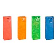 TSI Geschenktasche Laura, für Flaschen, 12 x 8 x 36 cm, reißfest, 12er-Set farbsortiert