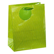 TSI Geschenktasche Nadelstreifen, mittelgroß, 18 x 10 x 23 cm, reißfest, 4er-Set grün