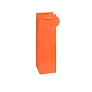 TSI geschenktasje krijtstreep, voor flessen, 12 x 8 x 36 cm, scheurvast, set van 4 oranje