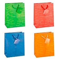 TSI geschenktasje Laura, medium formaat, 18 x 10 x 23 cm, scheurvast, set van 12, geassorteerde kleuren