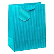 TSI Geschenktüte mittel, Nadelstreifen blau, inkl. Band & Beschriftungsschild, 4 Stück