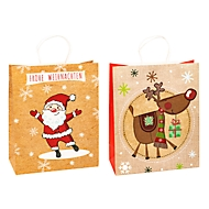 TSI Geschenktüten Weihnachten, Kraftpapier, B 260 x T 120 x H 320 mm, 6er Set, 2 Motive sortiert