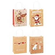 TSI Geschenktüten Weihnachten, Kraftpapier, B180 x T100 x H 230 mm, 12er Set, 4 Motive sortiert