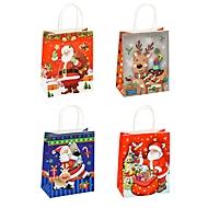 TSI Geschenktüten Weihnachten Serie 2, Kraftpapier, B 180 x T 100 x H 230 mm, 12er-Set, 4 Motive sortiert