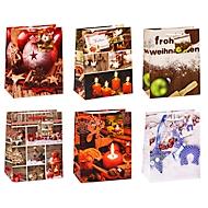 TSI Geschenktüten Weihnachten Serie 6, Polypropylen, B 180 x T 100 x H 230 mm, 12er-Set, 6 Motive sortiert