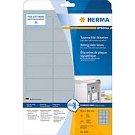 Typeplaatje-etiketten Herma, A4, 210 x 297 mm, zelfklevend en weerbestendig, zilver, 10 stuks