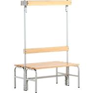 Umkleidebank, Stahlrohr/Holz, doppelt, mit Garderobenteil, L 1015 mm, lichtgrau