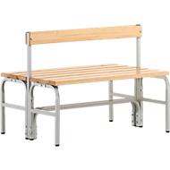 Umkleidebank, Stahlrohr/Holz, doppelt, mit Rückenteil, L 1015 mm, lichtgrau