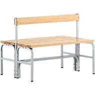 Umkleidebank, Stahlrohr/Holz, doppelt, mit Rückenteil, L 1015 mm, weißalu