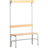 Umkleidebank, Stahlrohr/Holz, einfach, mit Garderobenteil, L 1015 mm, lichtgrau