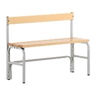 Umkleidebank, Stahlrohr/Holz, einfach, mit Rückenteil, L 1015 mm, lichtgrau