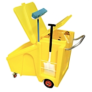 Umweltwagen für Feststoffe, Lagerbehälter & Sackhalterung, mit Klappdeckeln, 230 l, PE, gelb
