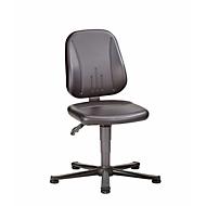 Unitec ESD-werkstoel met glijders, kunstleer, skai zwart