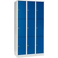 Vakkenkast 300 mm, 3 compartimenten, 9 vakken, veiligheidscilinderslot, sokkel, gentiaanblauw