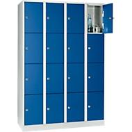 Vakkenkast 300 mm, 4 compartimenten, 16 vakken, veiligheidscilinderslot, sokkel, gentiaanblauw