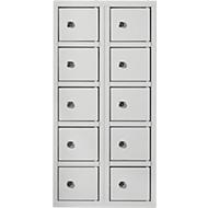 Vakkenkast, deuren met cilinderslot, incl. sleutels, plaatstaal, lichtgrijs RAL 7035, 10 vakken