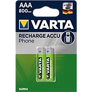VARTA piles rechargeable pour téléphone, type AA, 1,2V, 800 mAh, 2 pièces