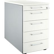 Vast ladeblok 13333, met hoekgreep, B 435 x H 717 mm, blank aluminium/blank aluminium/wit