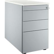 Vast ladeblok 1336, 4 schuifladen, blank aluminium/blank aluminium/wit