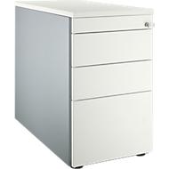 Vast ladeblok 1336, met greepuitsparing, B 435 x H 717 mm, blank aluminium/blank aluminium/wit