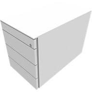 Vast ladeblok SOLUS PLAY, 1 materiaallade, 3 schuifladen, diepte 800 mm, zonder handgreep, wit