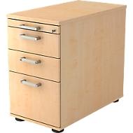Vast ladeblok TARVIS, 1 materiaallade, afsluitbaar, 2 schuifladen, 1 hangmappenlade, B 428 x D 700 x H 720 mm, esdoornpatroon